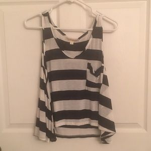 Blue and white striped women's tank - Large